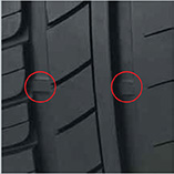 The wear bars on car, van and 4X4 tyres indicate the minimum legal UK tyre tread depth of 1.6mm