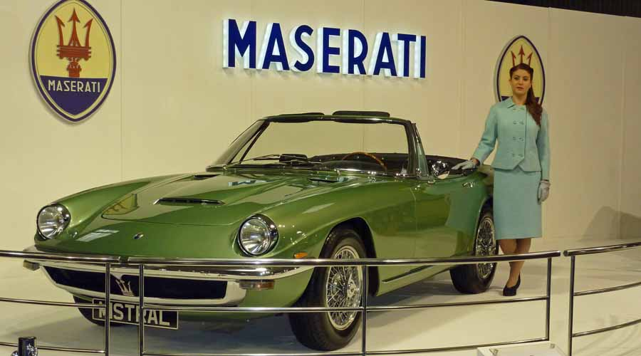 A stunning green classic Maserati Mistral Spyder takes centre stage at the Goodwood Revival motor show